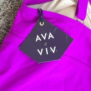 AVA VIV NWT One Piece Bathing Suit 16W Purple